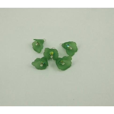 414-01 Gėlytė akrilinė, žalia, su swarovski kristalo akute,pasidabruota vielutė, 17x20mm