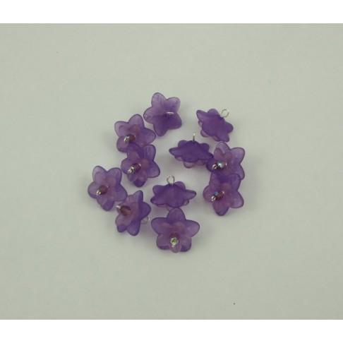 14-08 Gėlytė akrilinė, violetinė, su kristalo akute,pasidabruota vielutė, 17mm