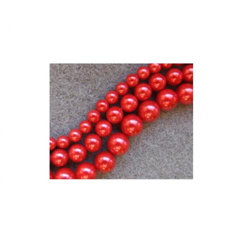 PERL-6973 Kriauklės perliukas, Raudona, 10mm