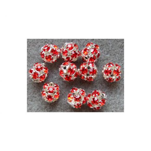 KR-07150  karoliukas su kristalo akutėmis, 12mm, raudonas