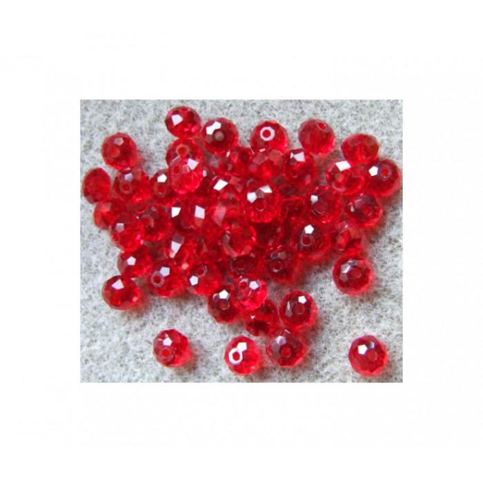 KR-RD45 Karoliukas kristalo, raudonas, 6.5x4.5mm