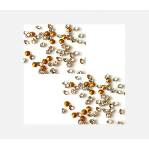 AKUTĖ-RS23  Kristalo akutė(ss6) apie 2mm, balta