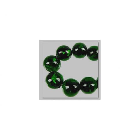 ST-LPW8350 Karoliukas su sidabro folija, apie 16mm, tamsiai žalias