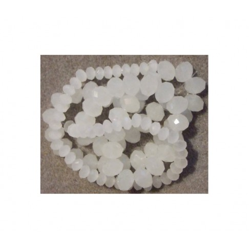 KR-4598 Kristalo karoliukas-rondelė, 8x6mm, baltas-matinis