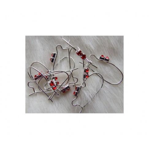 SID-KRA257 Kabliukai auskarams su raudonom kristalo akutėm, 27x13mm, už porą