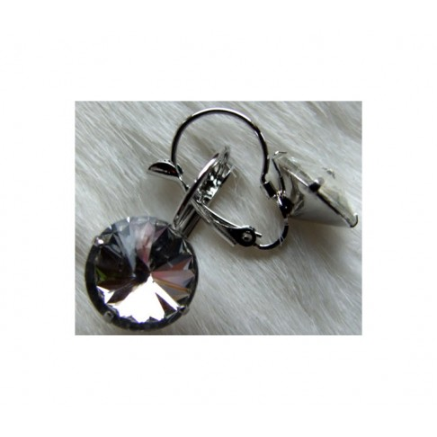 7-01322 Auskarai su kristalo akute 19x12mm. už porą, skaidraus kristalo sp.