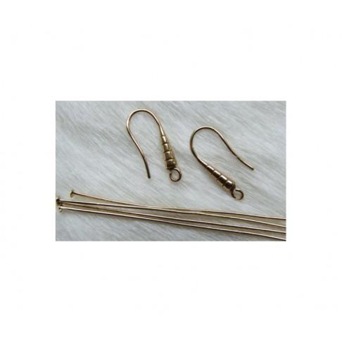AUK-RK385 Šviesaus aukso sp. kabliukai auskarams, + 4 šv. auk. sp. vinutės 4 vnt po 65mm