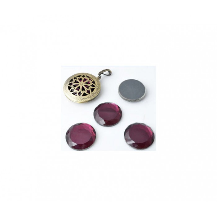 KAB-10689 Kristalo kabošonas 24mm, ametisto spalvos, tinka medalionams:)