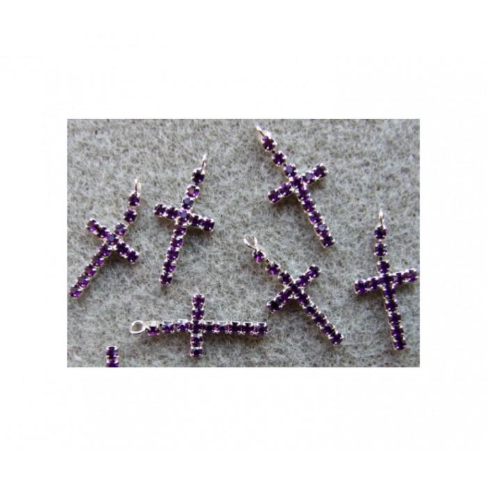 """KR-PK09622 Pakabukas su kristalo akutėm, tamsaus ametisto sp., """"Kryželis"""", 24x11mm"""