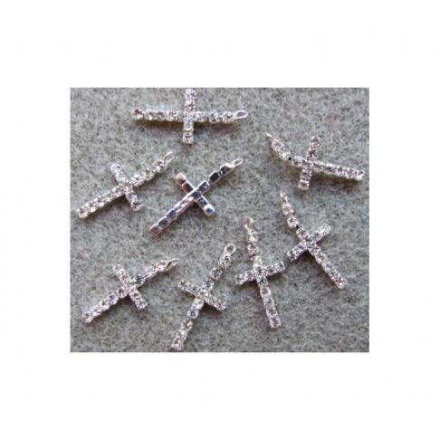 """KR-PK09621 Pakabukas su kristalo akutėm, skaidrios sp., """"Kryželis"""", 24x11mm"""