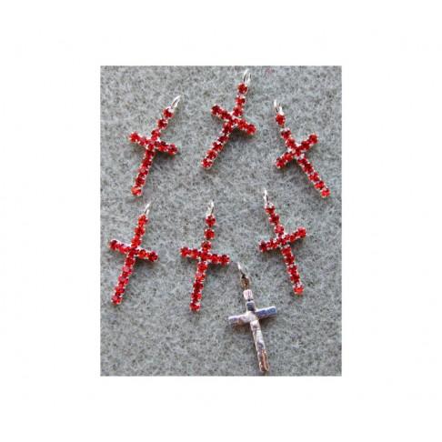 """KR-PK09627 Pakabukas su kristalo akutėm, raudonos sp., """"Kryželis"""", 24x11mm"""