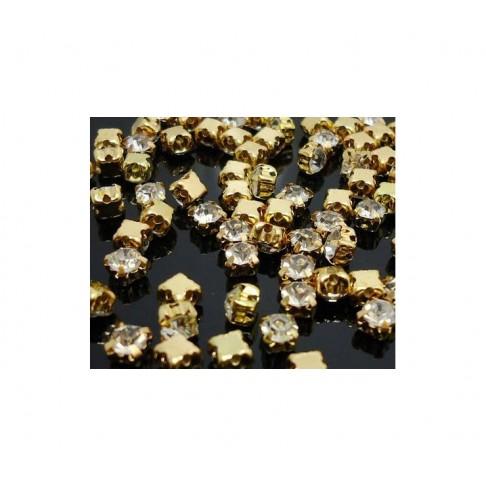 AUK-PRSA9 Prisiuvamos skaidraus kristalo akutės, 4mm