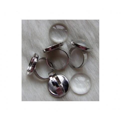 7-PTN455  Ruošinys žiedui, tinka 18mm kabošonas, platinos sp.