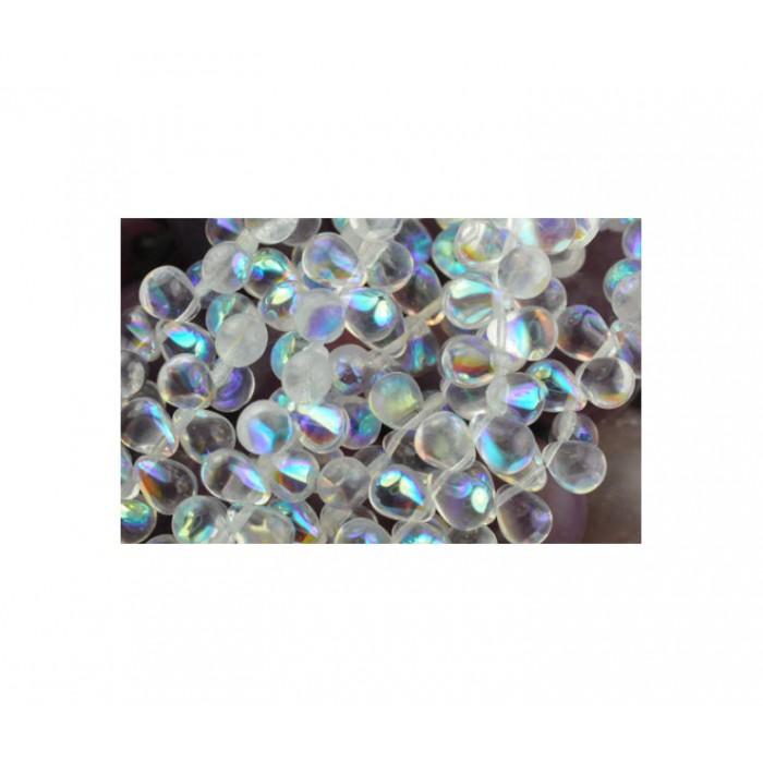 CEK-ST862 Čekiško stiklo karoliukas, lašelis, 8x6mm, kristalo AB