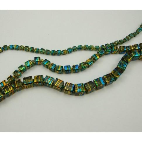 8083 dekoruoto stiklo karoliukas, kvadrato formos 8x8mm, chaki sp.