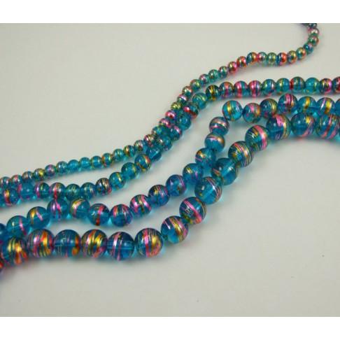 9-8097 dekoruoto stiklo karoliukas 12mm. melsvos spalvos