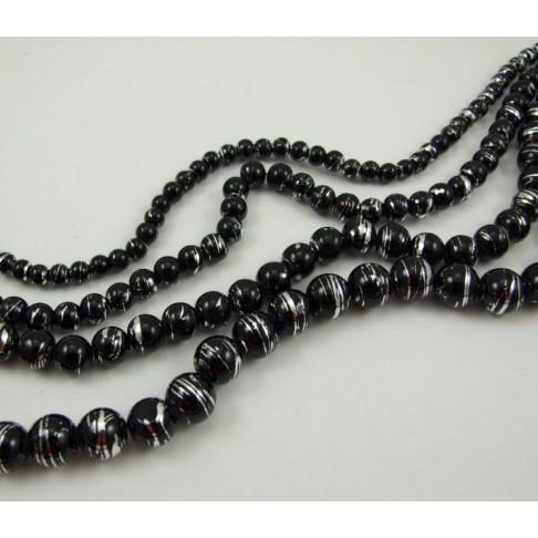 9-8087 Dekoruoto stiklo karoliukas 12mm, juodas