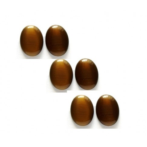 "KAB-KT18140 Kabošonas ""Katės akis"" , 25x18mm, ruda"