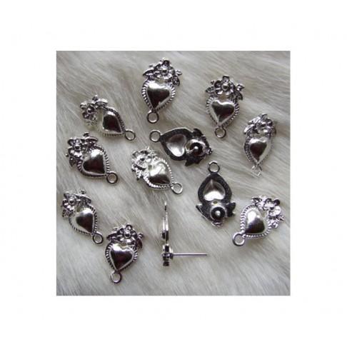 SID-4082 Vinutėa auskarams, su širdele ir gėlyte, 18x15 mm, už porą