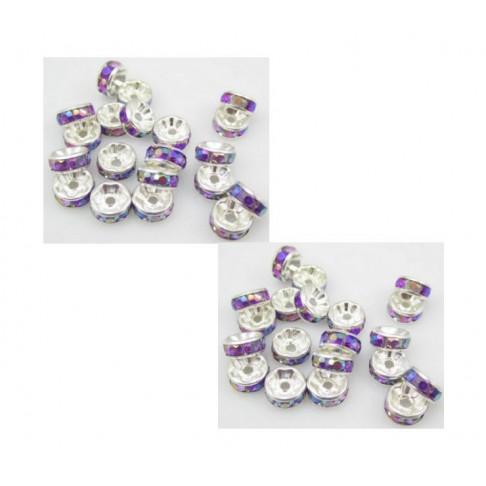 SID-TP458 Intarpas, 8mm,violetinis ab, rondelė, kristalo akutėm