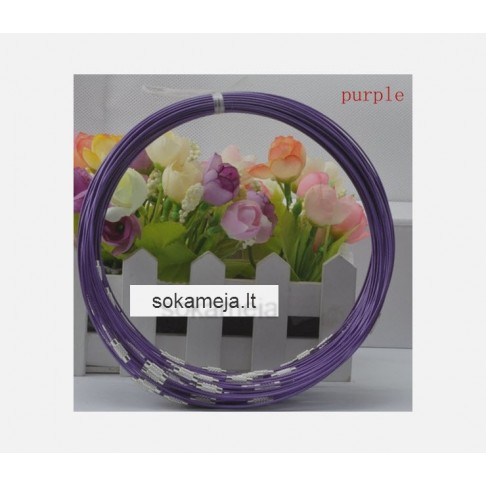 7-NJ6  Vielutė vėriniams, 1mm, 45 cm,  tamsi violetinė