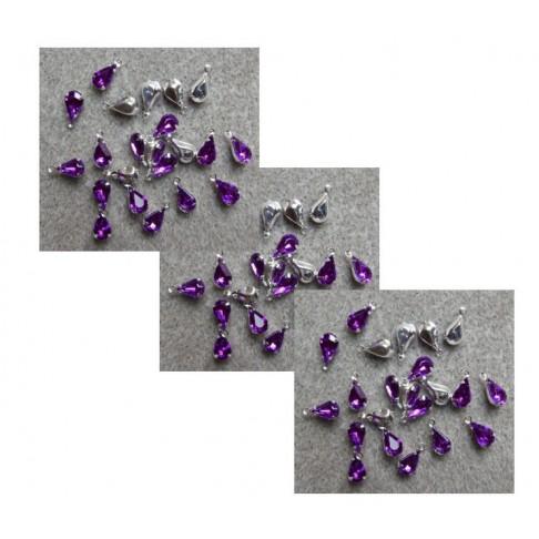 PAK-AM137  Pakabukas su akriline akute, lašelis, 13x6mm violetinis