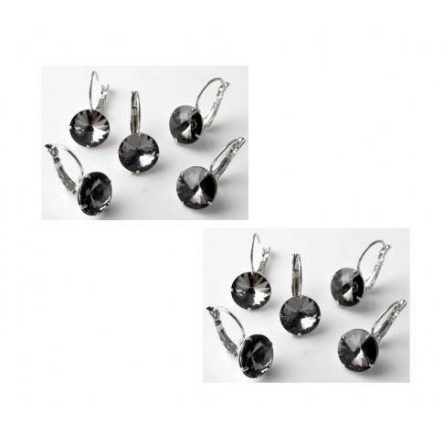7-13299 Auskarai 19x10mm, kristalo ak., tamsaus deimanto sp.