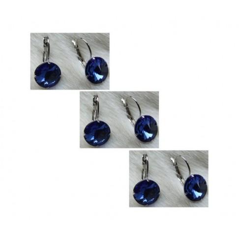 AUS-KR1328 Auskarai, su mėlynom kristalo akutėm, 19x10mm, už 2