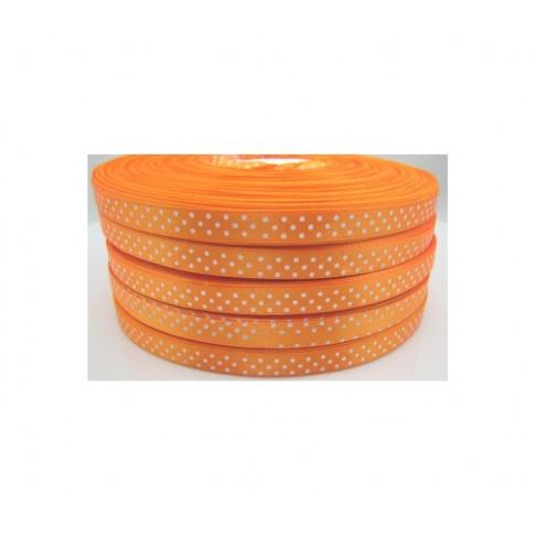 JUOST-OR5015 Satino juostelė, 10mm, oranžinė su taškučiais, už 50 cm