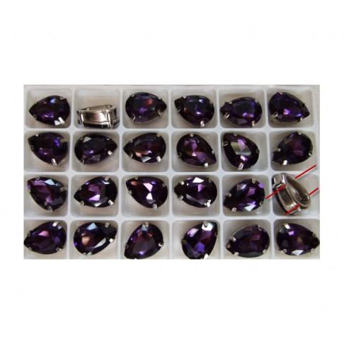 K-25814 Intarpas-detalė, 18x13mm, kristalo ametisto sp.