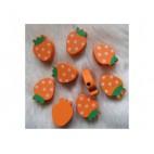 """MED-KRS21 Medinis karoliukas """" Braškė """", 20x14mm, oranžinis"""