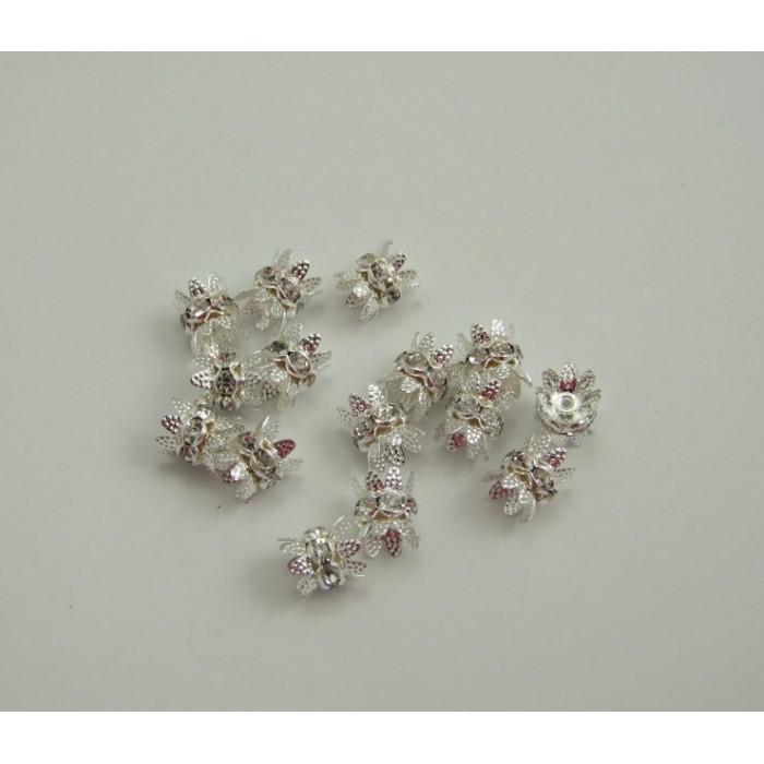 KK-01101  Kepurėlė su kristalais,sidabruota, skaidrios sp. 8x9mm