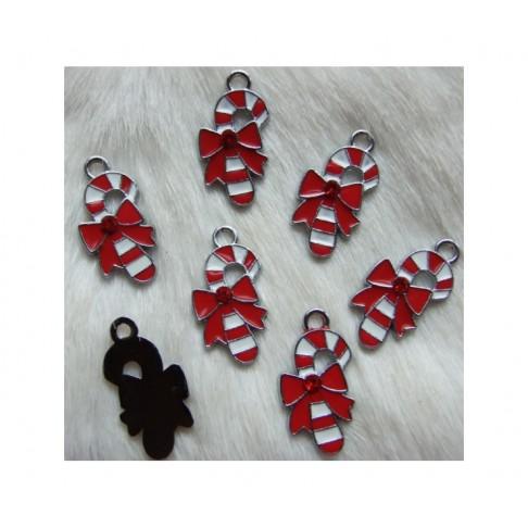 7-KAS2635 Kalėdinis pakabukas su raudona kristalo akute, 26x13mm