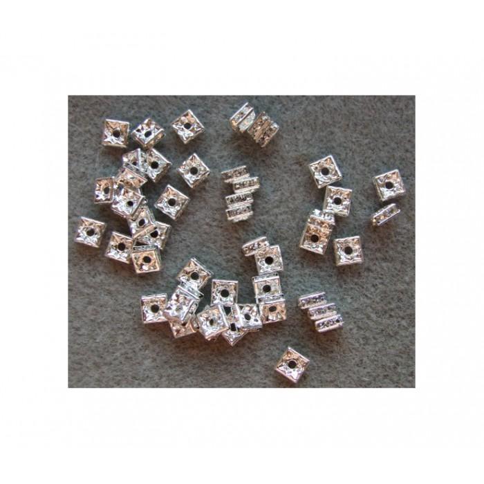 SID-INT3 Intarpas, 6x2.5mm, keturkampis, su skaidriom kristalo akutėm