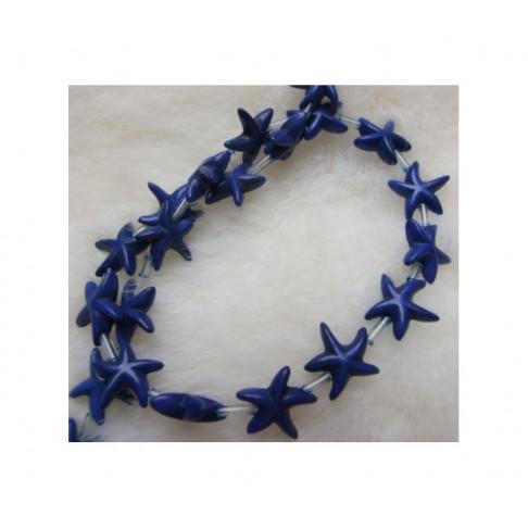 """HW-37 Hovito  karoliukas """"Jūros žvaigždutė"""", 14mm, tamsiai mėlyna"""
