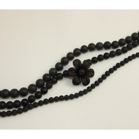 11565  Agatas, juodas-matinis, 6mm