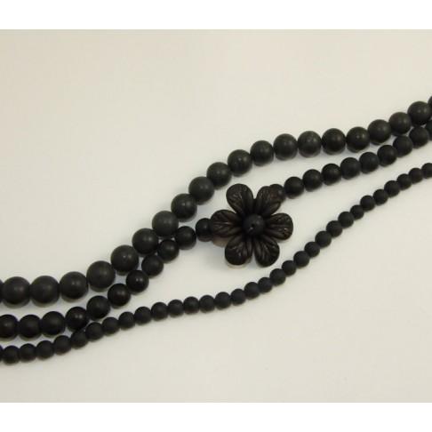 111563  Agatas, juodas-matinis, 8mm
