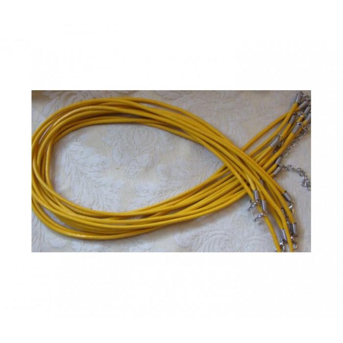 V-OD2020 Natūralios odos virvutė vėriniams, 50cmx3mm, GELTONA