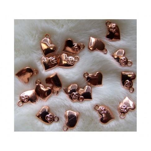 """ROZ-AUK10723  Rožinio aukso pakabukas, """"Širdelė"""", 15x11mm"""