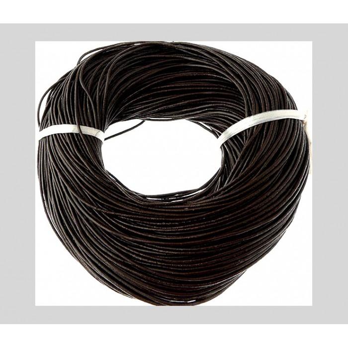 2278 Natūralios odos virvutė, 1.5mm, TAMSI RUDA, kaina už 50 cm (nesukarpyta)