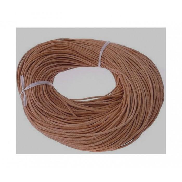 2279 Natūralios odos virvutė, 1.5mm, ŠVIESI  RUDA, kaina už 50 cm (nesukarpyta)