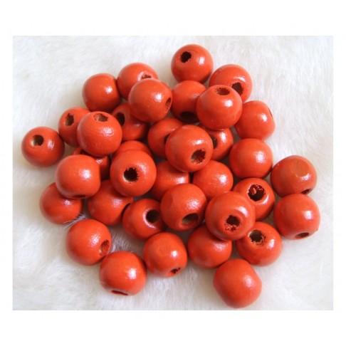 MED-K25 Medinis karoliukas, 12mm, oranžiniai-raudonas