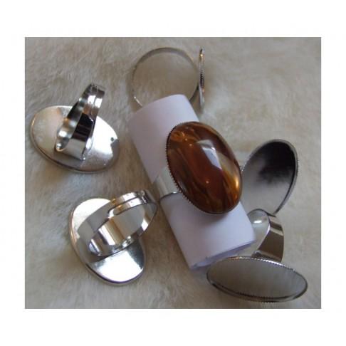 7-8851 Ruošinys žiedui, tinka kabošonas apie 25x18mm, platinos sp.