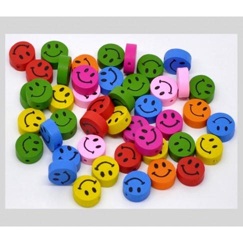 """K-SE1  Medinis karoliukas, """" Šypsenėlė"""", 16mm, AVIETINIS"""