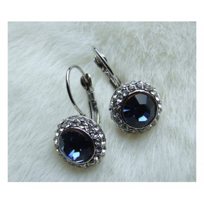 7-AM3 Auskarai, kristalo akutėm, mėlyna sp.