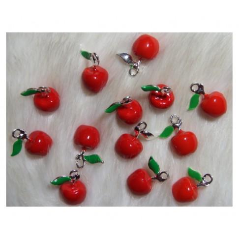 """7-3D113 Pakabukas """"Maži obuoliukai"""" 3D efektas, 19x15mm"""