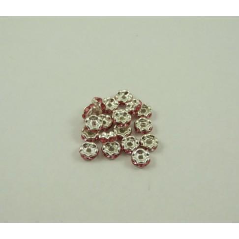IN-609 Intarpas apvalus su kristalo akutėm 6mm., rausvos sp.