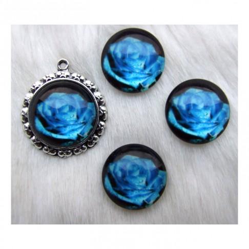 """KAB-S501 Stiklinis kabošonas """"rožė"""", 20 mm., mėlyna"""