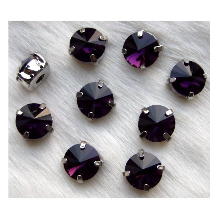 KR-588R  Intarpas-detalė, 12mm, kristalo tamsi ametisto sp.