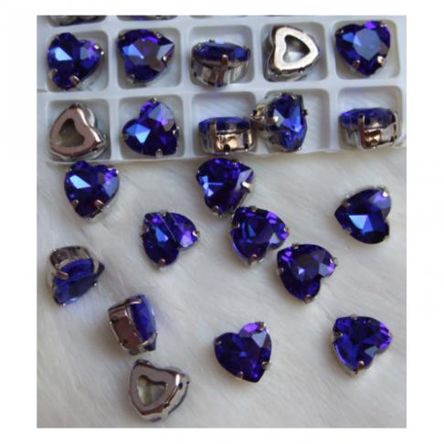 D-A30228   Intarpas-detalė, 10mm, kristalo, širdelė, MĖLYNA